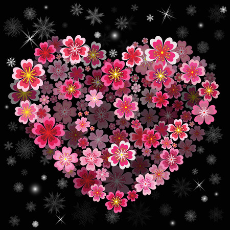 Christmas Flower heart with Snowflakes. Christmas background. Vector illustration.