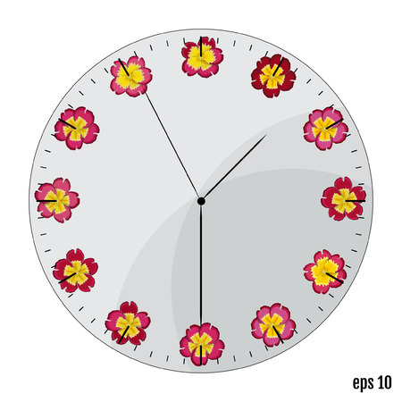 The watch dial with flowers. Summer concept. Flowers primrose on the dial - the original, sleek design. Illustration