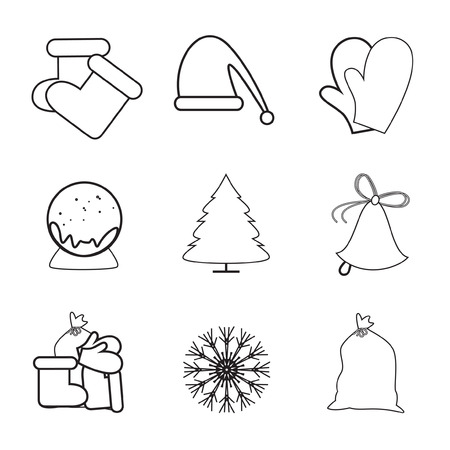 hollyberry: Set of 9 vector icons. Christmas icons. Illustration