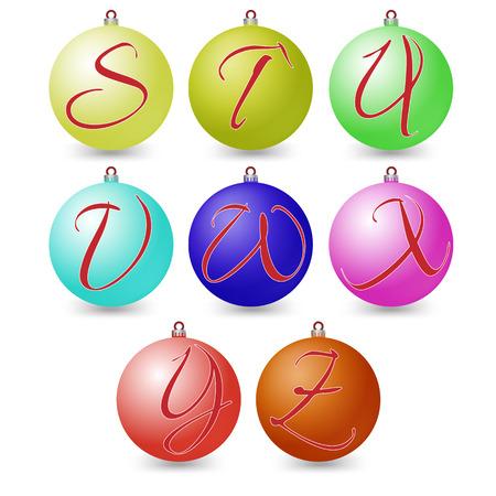 versatile: Versatile set of alphabet symbols on Christmas balls.