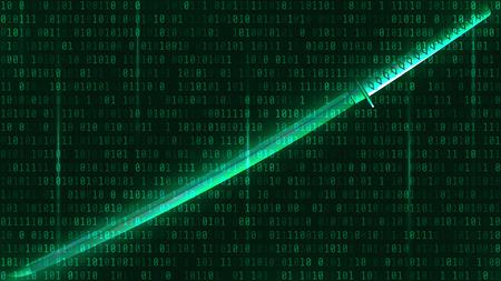 katana: Katana on a green background of binary code. Vector