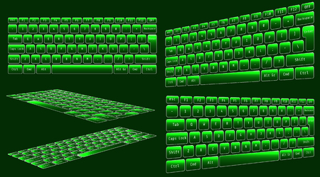 illustration of high tech keyboard with binary number