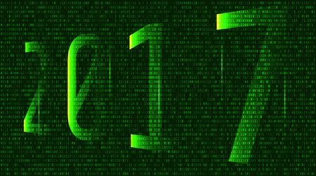 2017, la matrice, l'arrière-plan composé de symboles, de lettres et de chiffres forme le résumé du texte 2017 dans le style matriciel, illustration pour impression ou conception de site Web Vecteurs