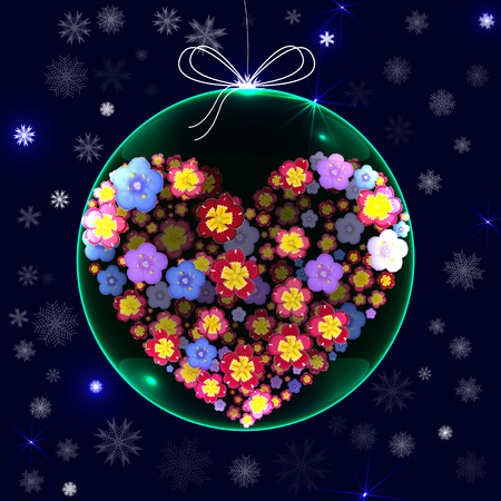 xmas decoration: Christmas ball green decoration glossy. Happy New Year bauble traditional. Merry Xmas greeting card design element. 3d effect