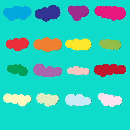 Set of colored cloud paper icons on jade  background