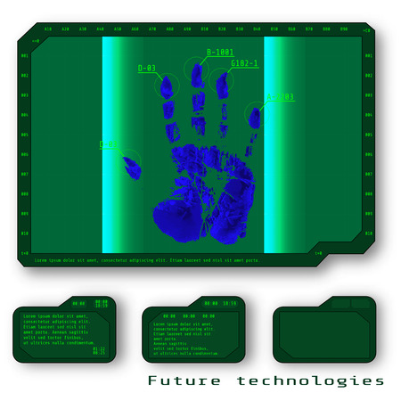 fingertip: Finger-print Scanning Identification System. Biometric Authorization and Business Security Concept.