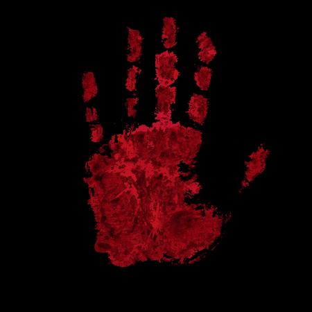 empreinte de main sanglante isolé sur fond noir clip art libres de