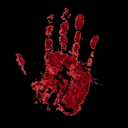 gash: Bloody hand print isolated on black background