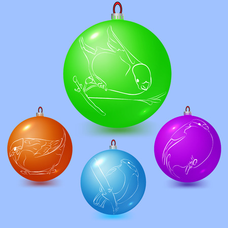Images of birds on the Christmas tree balls: bullfinch, sparrow, titmouse. Vector illustration Illustration