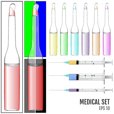 ampoule: Realistic Medical syringe and glass ampoule with colored liquid. Vaccine Vector Illustration