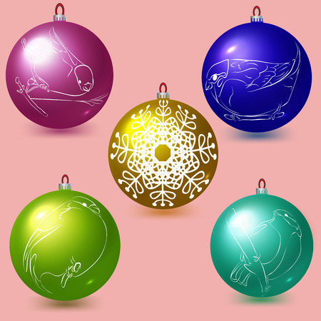 titmouse: Decorative colored balls. Christmas and New Year decoration. Vector objects Illustration
