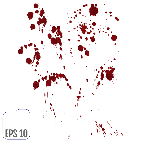 Set of various blood or paint splatters,Vector Set of different blood splashes, drops. Isolated on white background.