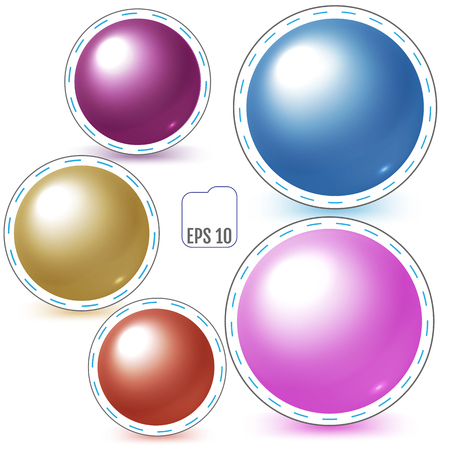 knocking: Set of colored patch spheres, pin badges, vector illustration