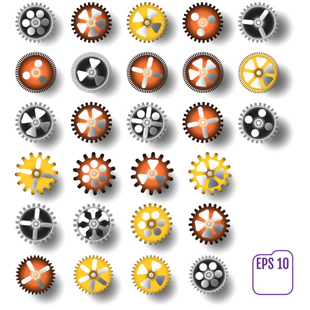 Set of Vintage Mechanical Cogwheel Gears Wheels, isolated on white background