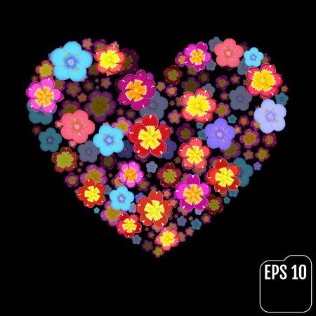primula: Primrose and primula Flowers Heart Over black. Valentine. Love. 3d effect Illustration
