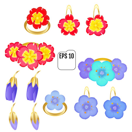 jewelry - rings, brooches, earrings and pendants. Material: gold and enamel. Artistic elements: flowers primula and Primrose