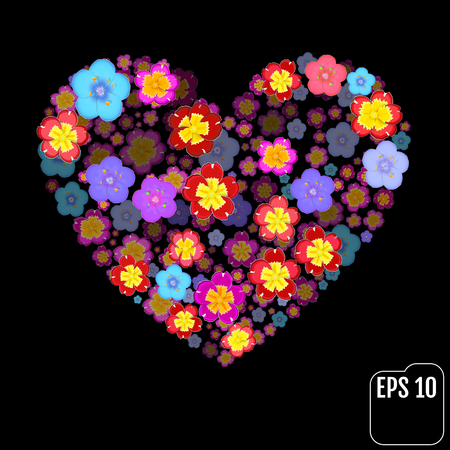 primula: Valentines Day Heart Made of Primula and Primroses Isolated on Black Background. 3d effect