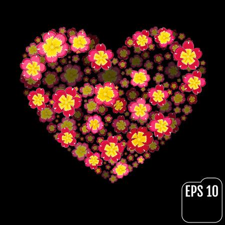 Primrose Flowers Heart Over Black. Valentine. Love. 3d Effect