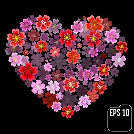 Original vector sakura heart with 3d effect. Illustration