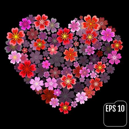 Original vector sakura heart with 3d effect. Illustration