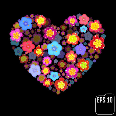 primula: Original vector flowers heart with 3d effect.