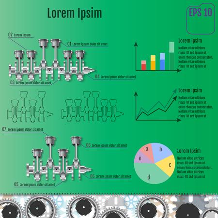 crankshaft: The concept infographic based on the crankshaft. Repair Infographics. Vector illustration