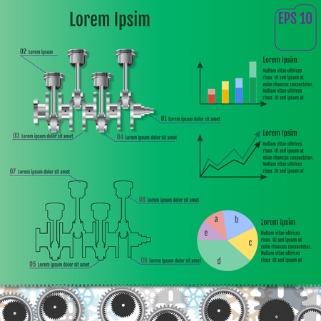 intake: The concept infographic based on the crankshaft. Repair Infographics. Vector illustration