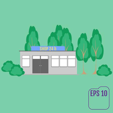 Shops flat concept. vector illustration Illustration