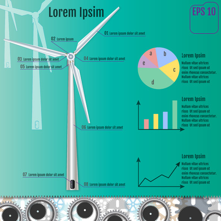 windfarm: Windmill infographic concept. Vector illustration