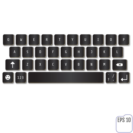 alphabet keyboard: Modern realistic keyboard for smartphone or tablet PC with alphabet buttons. Vector illustration