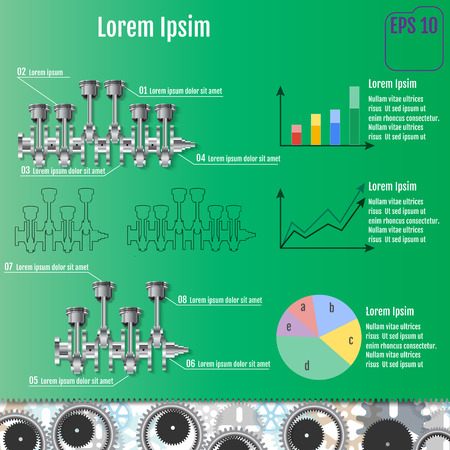 The concept infographic based on the crankshaft. Repair Infographics. Vector illustration