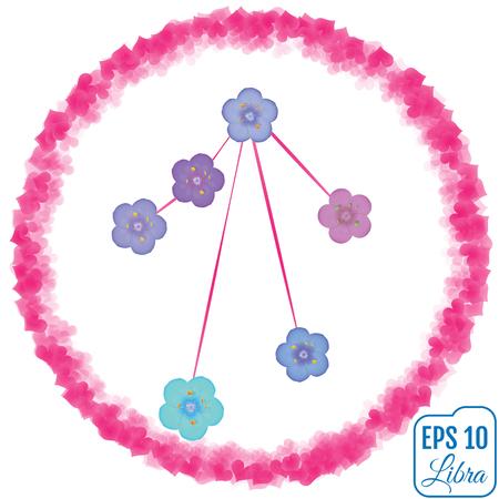 primula: Zodiac sign Libra. Primula concept. Flowers concept. Constellation Libra.