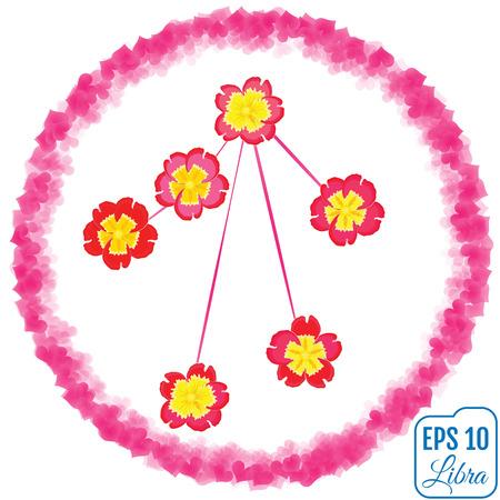 Zodiac sign Libra. Primrose concept. Flowers concept. Constellation Libra.