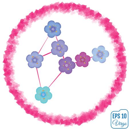 virgo: Signo zodiacal de Virgo. Primula concepto. Concepto de flores. Constelación de Virgo. Vectores