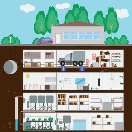 dugout: Underground bunker. Many parts of autonomous survival. Flat style. Vector illustration Illustration