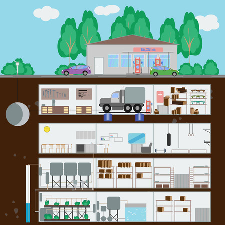 dugout: Underground bunker.Bunker at the gas station. Many parts of autonomous survival. Flat style. Vector illustration