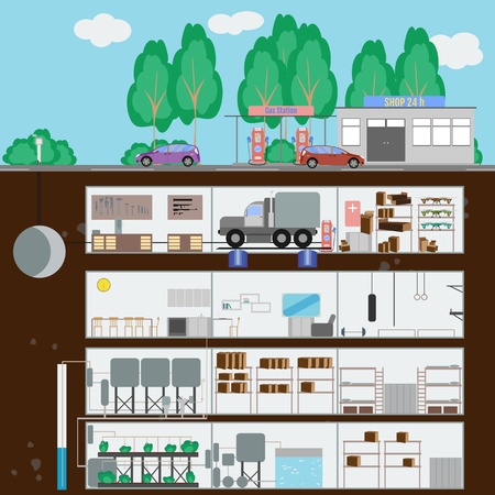 dugout: Underground bunker. Bunker at the gas station and store. Many parts of autonomous survival. Flat style. Vector illustration