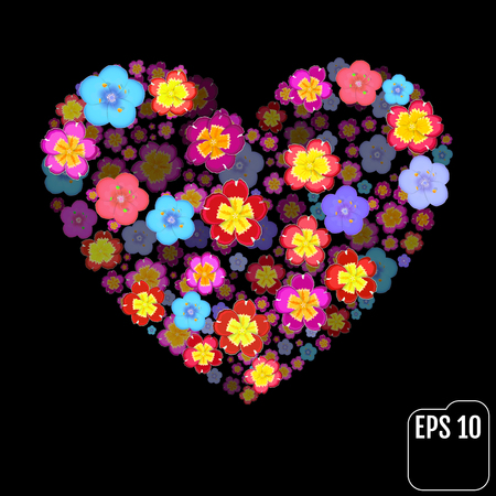 primula: Heart symbol made of flovers on black background with 3d effect Illustration