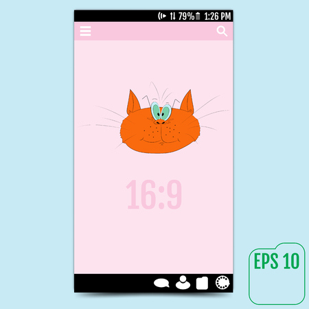 user interface with red cat, causing a smile