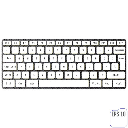 carboniferous: White laptop computer wireless keyboard top view with keys