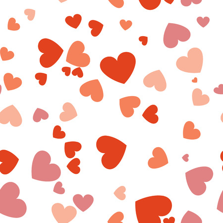 Heart confetti of Valentines falling on white background. vector seamless pattern Illustration