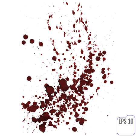 Splattered blood stain on white background