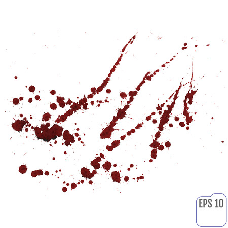 indy: Blood splatter or stain splashed with red ink isolated on white background for abstract fun wall decoration, top view.