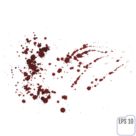 murder scene: Blood splatters isolated on white. Clipping path.