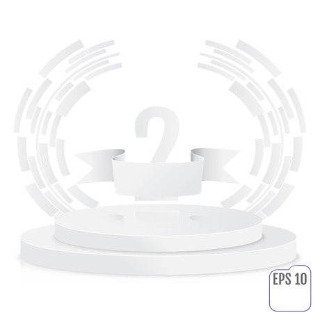 second floor: Winner, number two background with white ribbon, techno stylized olive branch  on round pedestal isolated on white. Paper concept. Poster or brochure template.