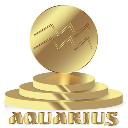 Gold Zodiac sign. Aquarius - Astrological and Horoscope symbol on pedestal