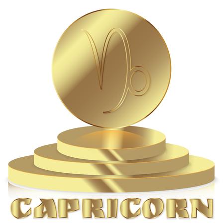 Gold Zodiac Sign Capricorn Astrological And Horoscope Symbol
