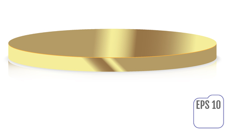 Empty gold round pedestal for display. Platform for design.