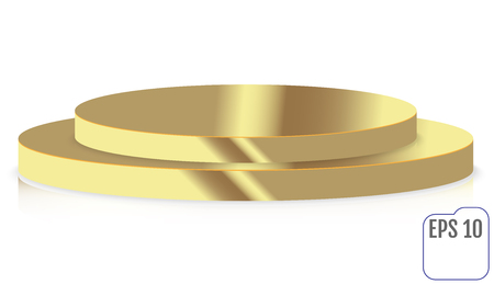 Gold round stage podium, pedestal isolated on white background. Иллюстрация