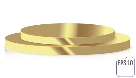 Gold round stage podium, pedestal isolated on white background. Illustration